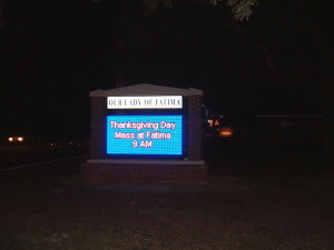 Church LED Sign Nighttime